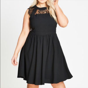 City Chic Black Dress with Lace EUC